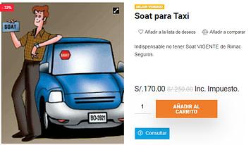 Soat para Taxi 170 soles
